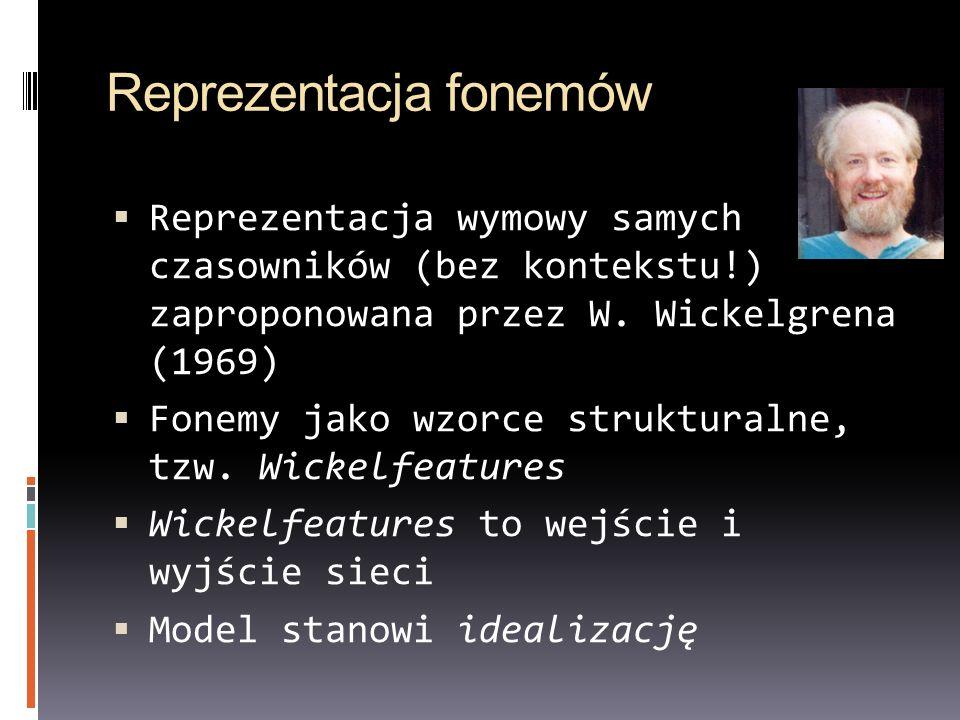 Reprezentacja fonemów Reprezentacja wymowy samych czasowników (bez kontekstu!) zaproponowana przez W. Wickelgrena (1969) Fonemy jako wzorce struktural