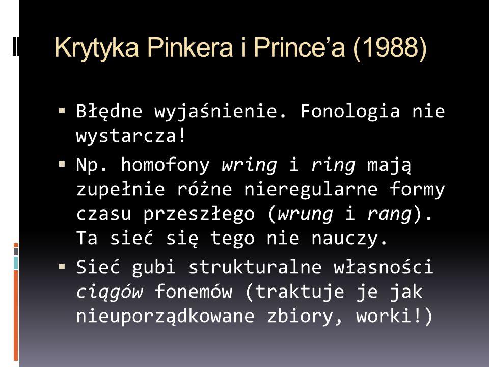 Krytyka Pinkera i Princea (1988) Błędne wyjaśnienie. Fonologia nie wystarcza! Np. homofony wring i ring mają zupełnie różne nieregularne formy czasu p