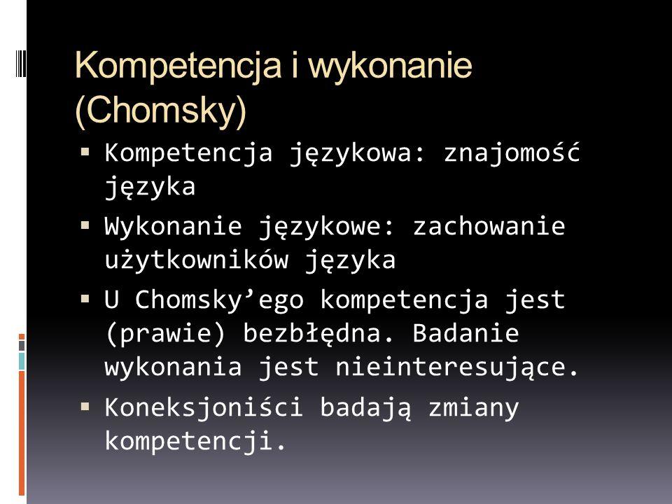 Kompetencja i wykonanie (Chomsky) Kompetencja językowa: znajomość języka Wykonanie językowe: zachowanie użytkowników języka U Chomskyego kompetencja j