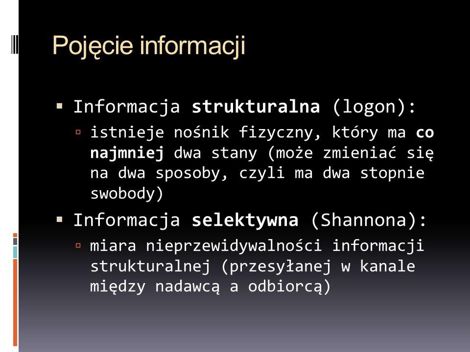 Pojęcie informacji Informacja strukturalna (logon): istnieje nośnik fizyczny, który ma co najmniej dwa stany (może zmieniać się na dwa sposoby, czyli