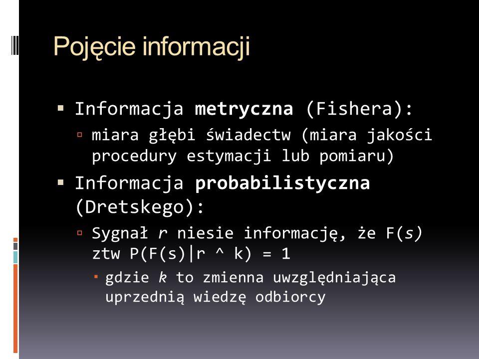 Pojęcie informacji Informacja metryczna (Fishera): miara głębi świadectw (miara jakości procedury estymacji lub pomiaru) Informacja probabilistyczna (