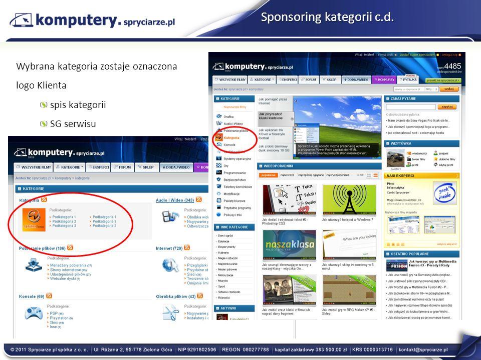 Sponsoring kategorii c.d. Wybrana kategoria zostaje oznaczona logo Klienta spis kategorii SG serwisu