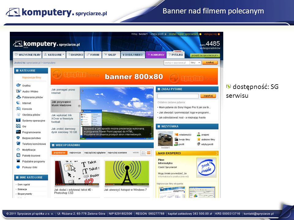 Banner nad filmem polecanym dostępność: SG serwisu