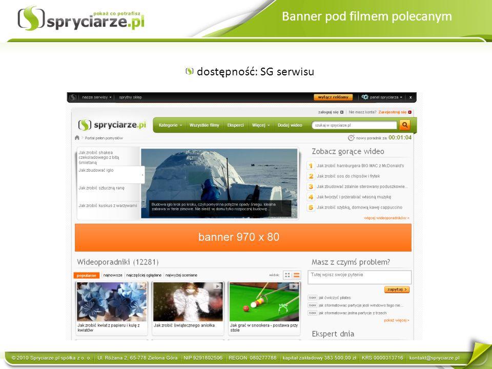 Panel Spryciarza Dostępny na ROS serwisu Panel Spryciarza umożliwia Userom szybkie poruszanie się po serwisie Możliwość umieszczenia na panelu gadżetu reklamowego w kształcie produktu Klienta Gadżet może się rozwijać i przekierowywać w dowolne miejsce na serwisie lub na site zewnętrzny/ możliwość zamieszczenia video