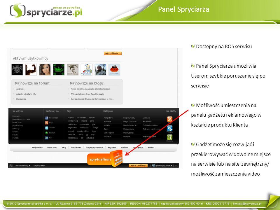 Panel Spryciarza Dostępny na ROS serwisu Panel Spryciarza umożliwia Userom szybkie poruszanie się po serwisie Możliwość umieszczenia na panelu gadżetu