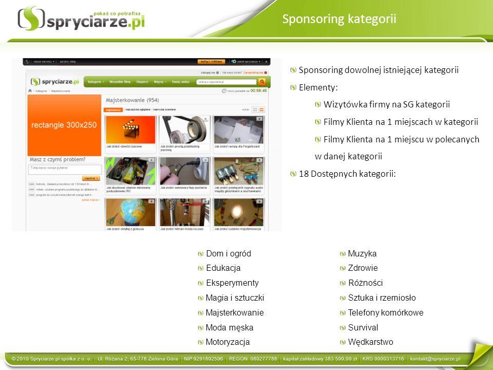 Sponsoring kategorii Sponsoring dowolnej istniejącej kategorii Elementy: Wizytówka firmy na SG kategorii Filmy Klienta na 1 miejscach w kategorii Film