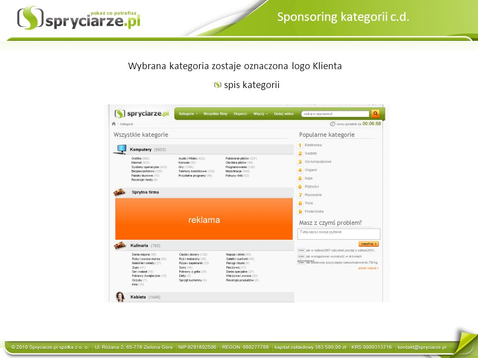 Sponsoring kategorii c.d. Wybrana kategoria zostaje oznaczona logo Klienta spis kategorii