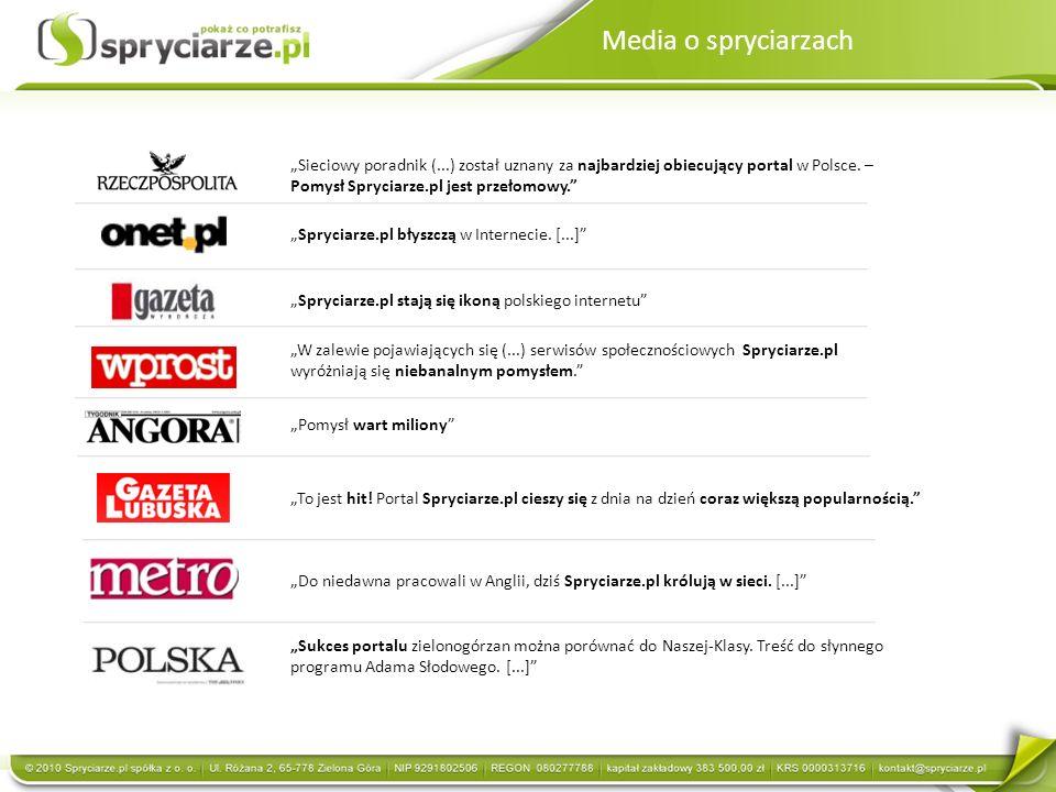 Sieciowy poradnik (...) został uznany za najbardziej obiecujący portal w Polsce. – Pomysł Spryciarze.pl jest przełomowy. To jest hit! Portal Spryciarz