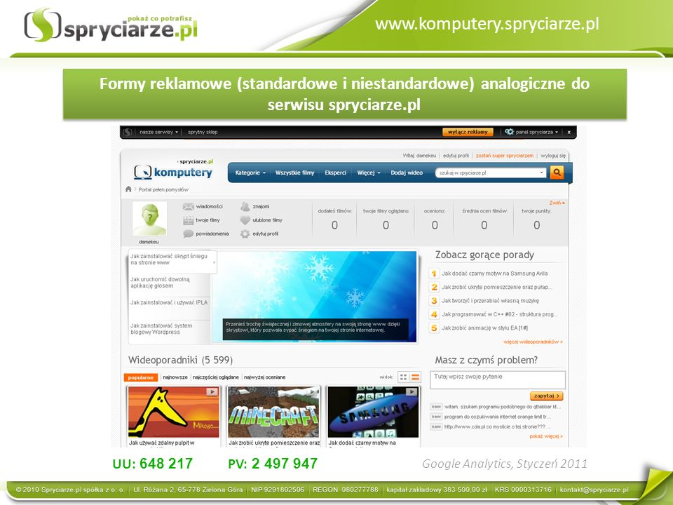 www.komputery.spryciarze.pl Formy reklamowe (standardowe i niestandardowe) analogiczne do serwisu spryciarze.pl UU: 648 217 PV: 2 497 947 Google Analytics, Styczeń 2011