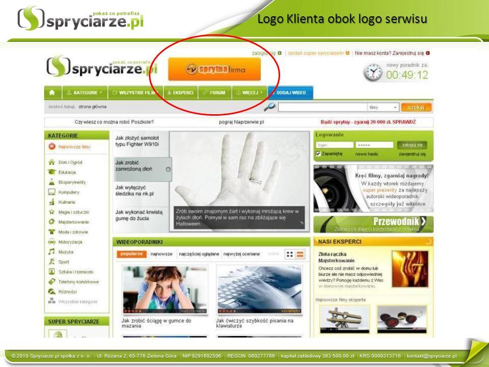 Logo Klienta obok logo serwisu