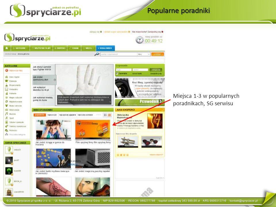 Popularne poradniki Miejsca 1-3 w popularnych poradnikach, SG serwisu