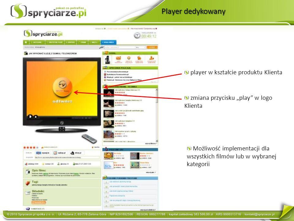 Player dedykowany player w kształcie produktu Klienta zmiana przycisku play w logo Klienta Możliwość implementacji dla wszystkich filmów lub w wybranej kategorii