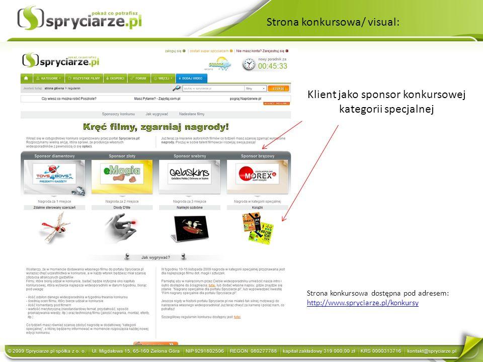 Strona konkursowa/ visual: Klient jako sponsor konkursowej kategorii specjalnej Strona konkursowa dostępna pod adresem: http://www.spryciarze.pl/konkursy http://www.spryciarze.pl/konkursy