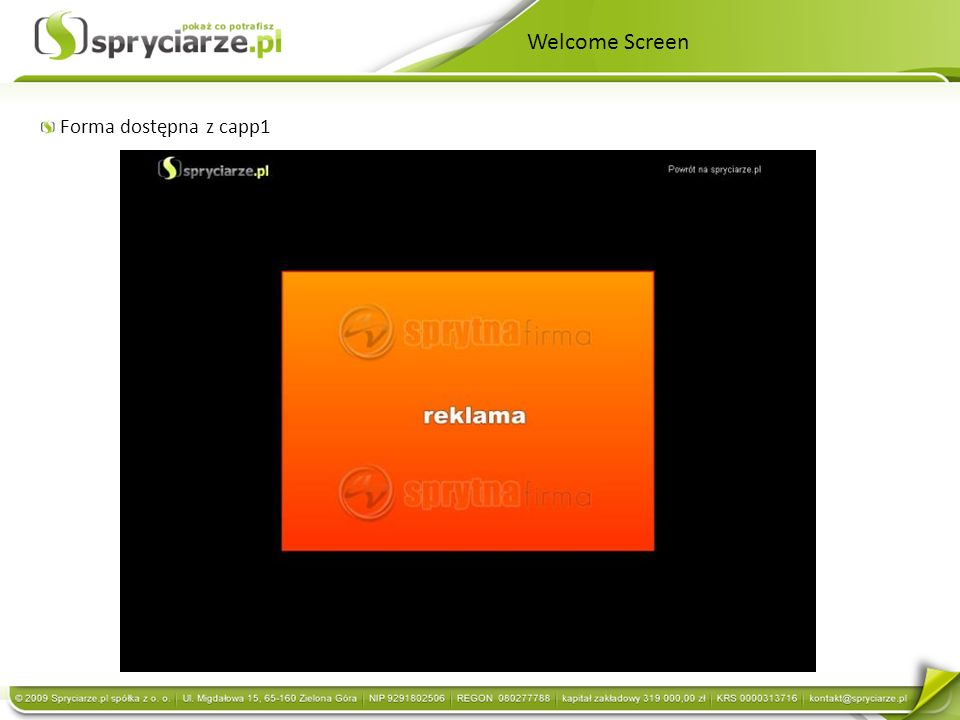 Welcome Screen Forma dostępna z capp1