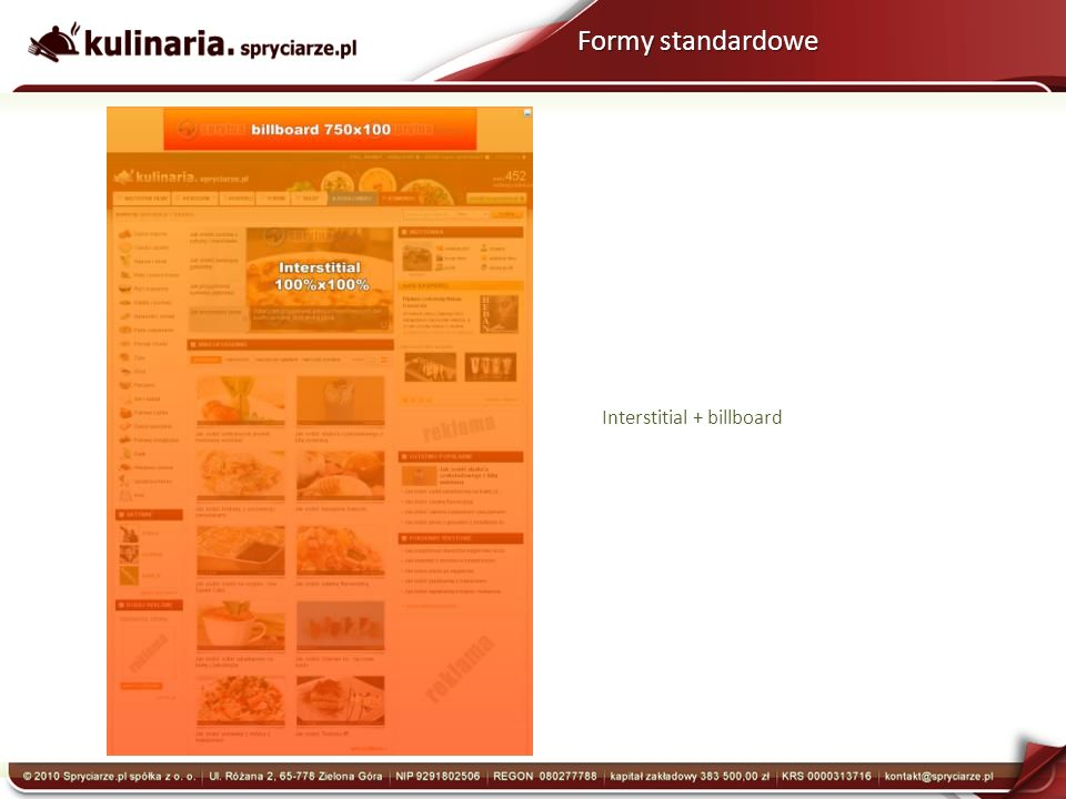 Interstitial + billboard Formy standardowe