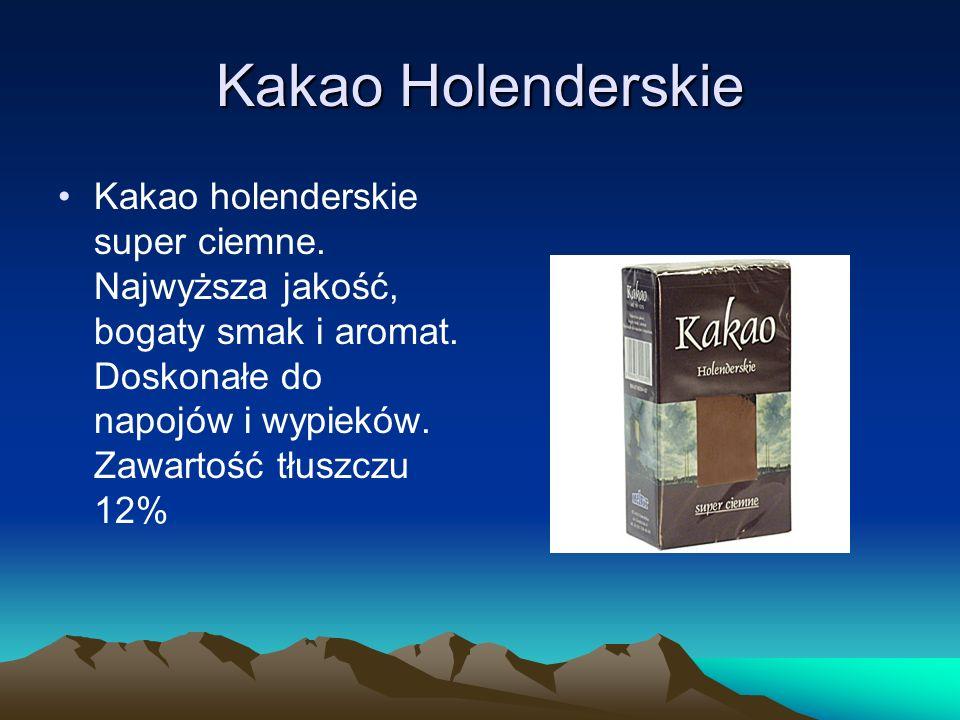 Kakao Holenderskie Kakao holenderskie super ciemne. Najwyższa jakość, bogaty smak i aromat. Doskonałe do napojów i wypieków. Zawartość tłuszczu 12%