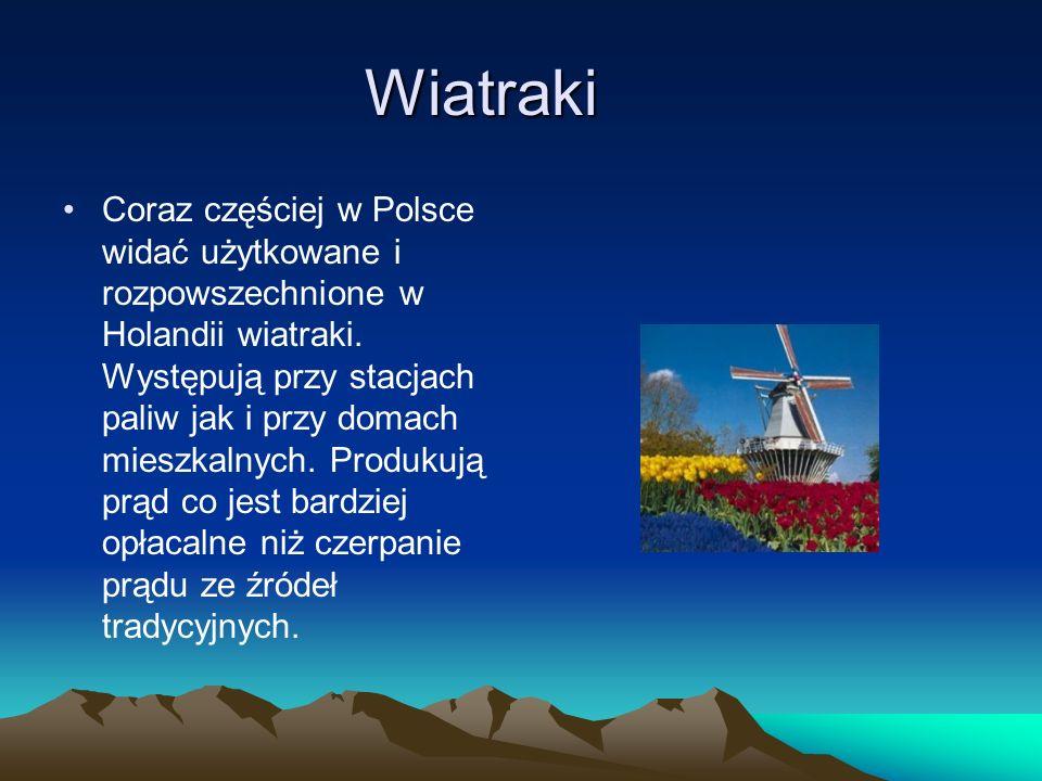 Wiatraki Coraz częściej w Polsce widać użytkowane i rozpowszechnione w Holandii wiatraki. Występują przy stacjach paliw jak i przy domach mieszkalnych
