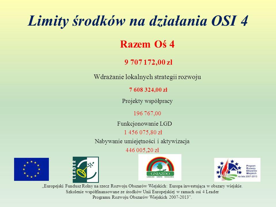 Limity środków na działania OSI 4 – wdrażanie lokalnych strategii rozwoju Odnowa i rozwój wsi 1 990 000,00 zł (26% alokacji) małe projekty 4 096 324,00 zł (54% alokacji ) Tworzenie i rozwój mikroprzedsiębiorstw 761 000,00 zł (10% alokacji) Różnicowanie w kierunku działalności nierolniczej 761 000,00 zł (10% alokacji) Europejski Fundusz Rolny na rzecz Rozwoju Obszarów Wiejskich: Europa inwestująca w obszary wiejskie.