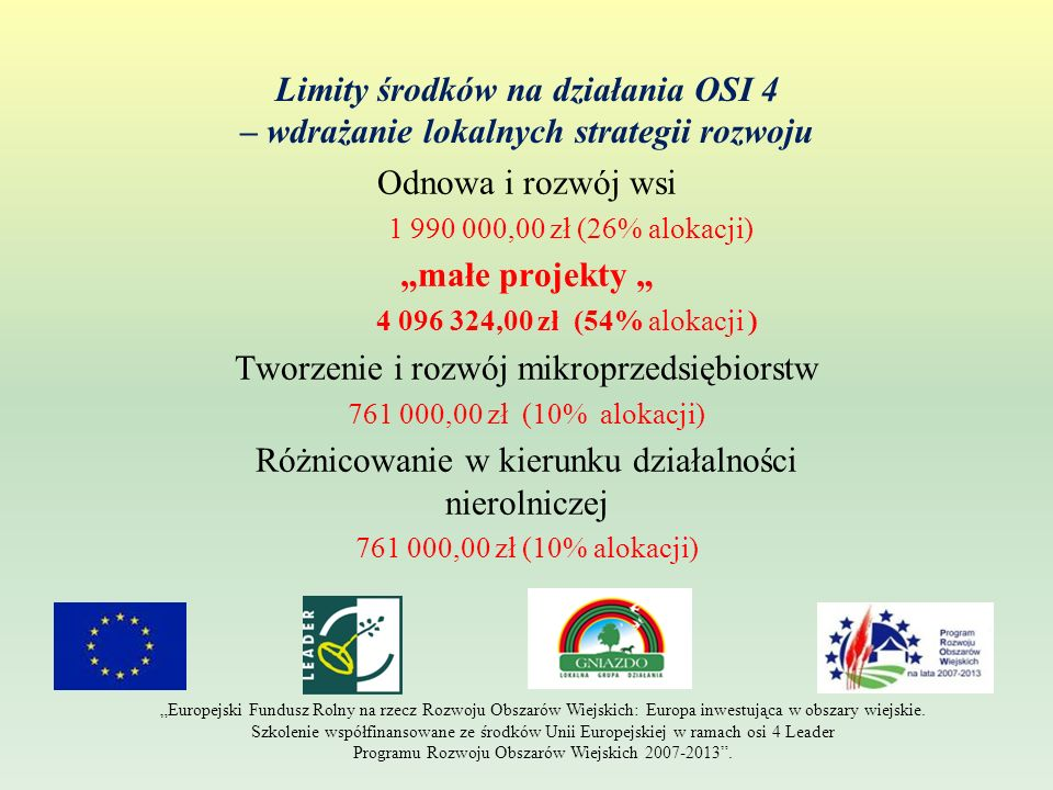 wdrażanie lokalnych strategii rozwoju - odnowa i rozwój wsi Wpłynęły do Stowarzyszenia LGD- Gniazdo 23 wnioski zawarto 16 umów przyznania pomocy 2 wnioski w trakcie rozpatrywania 5 wniosków odrzuconych podczas oceny Urzędu Marszałkowskiego Limit 1 990 000.00 zł wykorzystany (100%) 21 wniosków gminy członkowskie 2 wnioski parafie Europejski Fundusz Rolny na rzecz Rozwoju Obszarów Wiejskich: Europa inwestująca w obszary wiejskie.