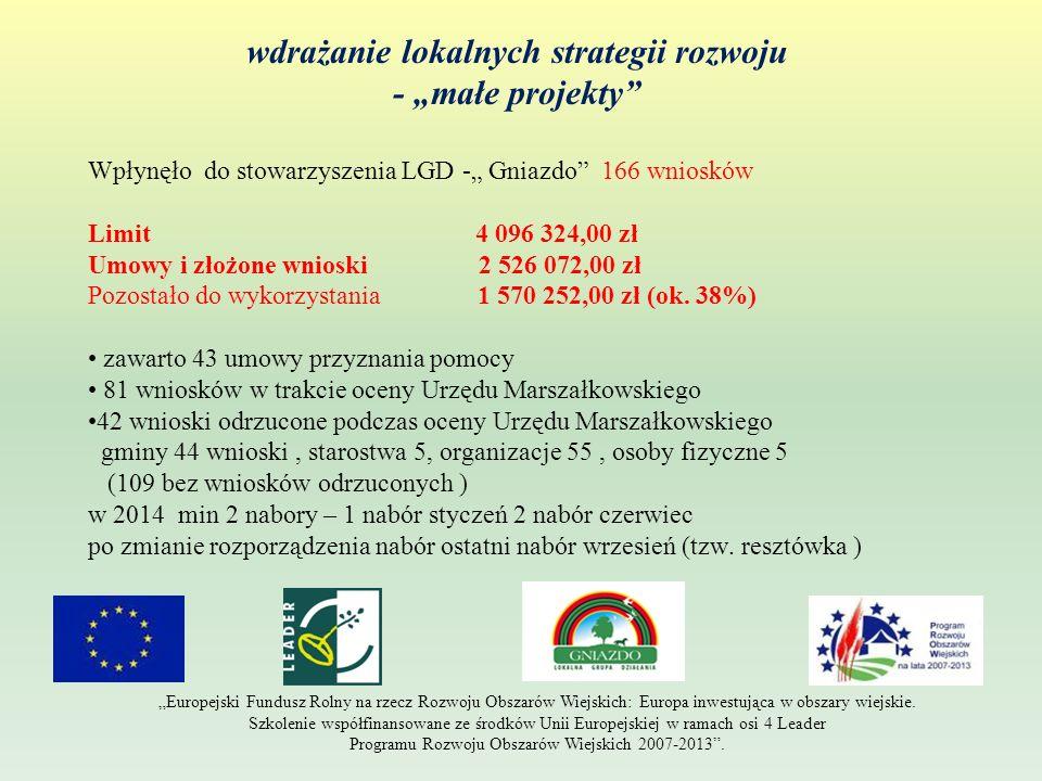 wdrażanie lokalnych strategii rozwoju - małe projekty Europejski Fundusz Rolny na rzecz Rozwoju Obszarów Wiejskich: Europa inwestująca w obszary wiejs