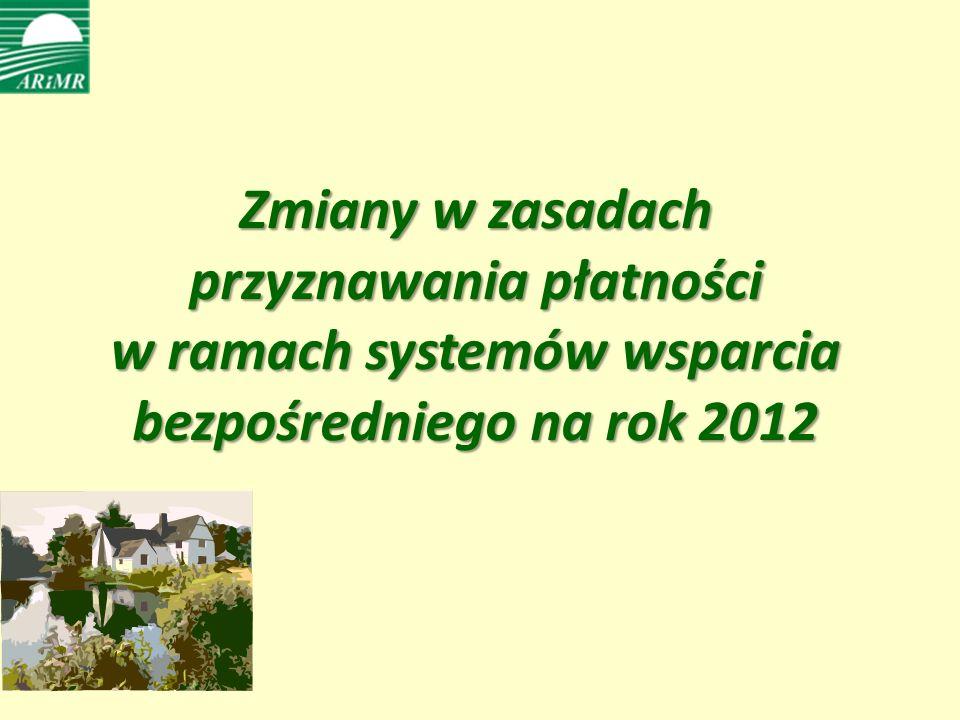 Zmiany w zasadach przyznawania płatności w ramach systemów wsparcia bezpośredniego na rok 2012