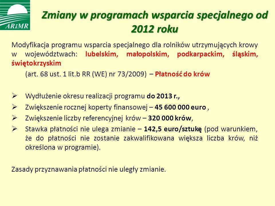 Zmiany w programach wsparcia specjalnego od 2012 roku Modyfikacja programu wsparcia specjalnego dla rolników utrzymujących krowy w województwach: lubelskim, małopolskim, podkarpackim, śląskim, świętokrzyskim (art.