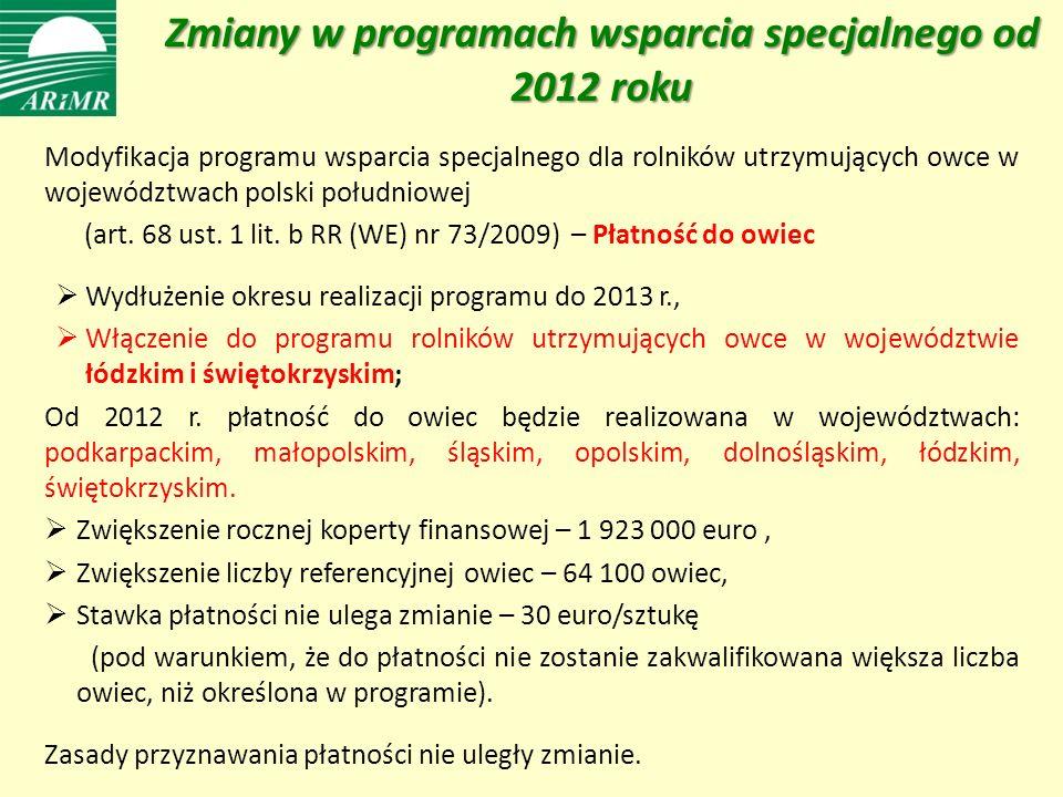 Zmiany w programach wsparcia specjalnego od 2012 roku Modyfikacja programu wsparcia specjalnego dla rolników utrzymujących owce w województwach polski południowej (art.
