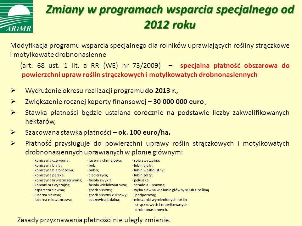 Zmiany w programach wsparcia specjalnego od 2012 roku Modyfikacja programu wsparcia specjalnego dla rolników uprawiających rośliny strączkowe i motylkowate drobnonasienne (art.