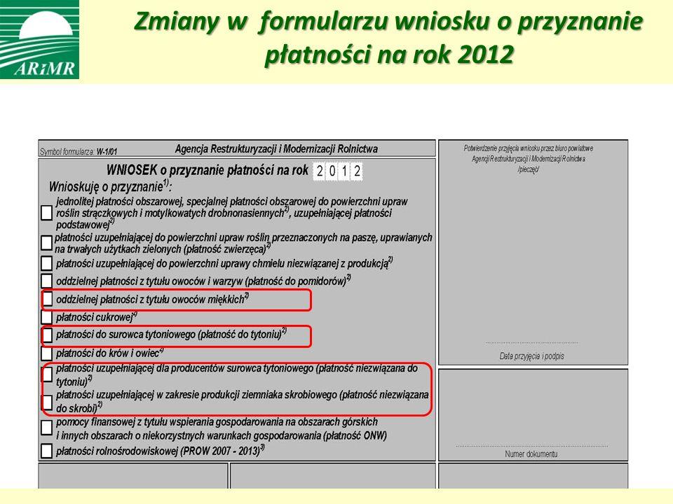 Zmiany w formularzu wniosku o przyznanie płatności na rok 2012 Zmiany w formularzu wniosku o przyznanie płatności na rok 2012