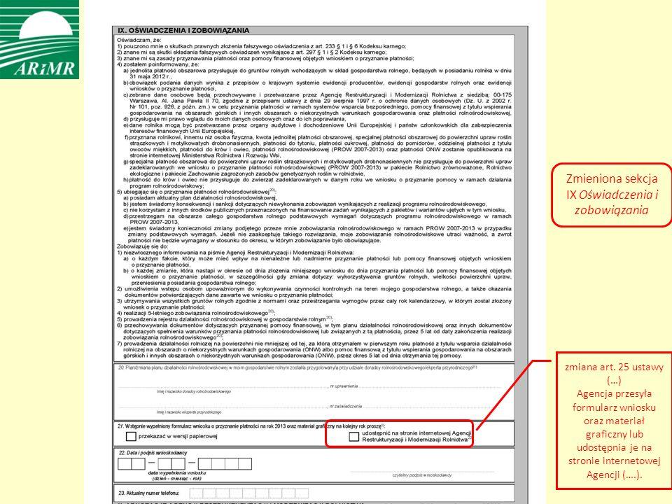 Zmieniona sekcja IX Oświadczenia i zobowiązania zmiana art.