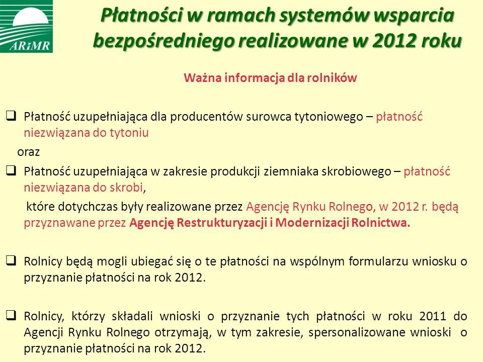Płatności w ramach systemów wsparcia bezpośredniego realizowane w 2012 roku Ważna informacja dla rolników Płatność uzupełniająca dla producentów surowca tytoniowego – płatność niezwiązana do tytoniu oraz Płatność uzupełniająca w zakresie produkcji ziemniaka skrobiowego – płatność niezwiązana do skrobi, które dotychczas były realizowane przez Agencję Rynku Rolnego, w 2012 r.