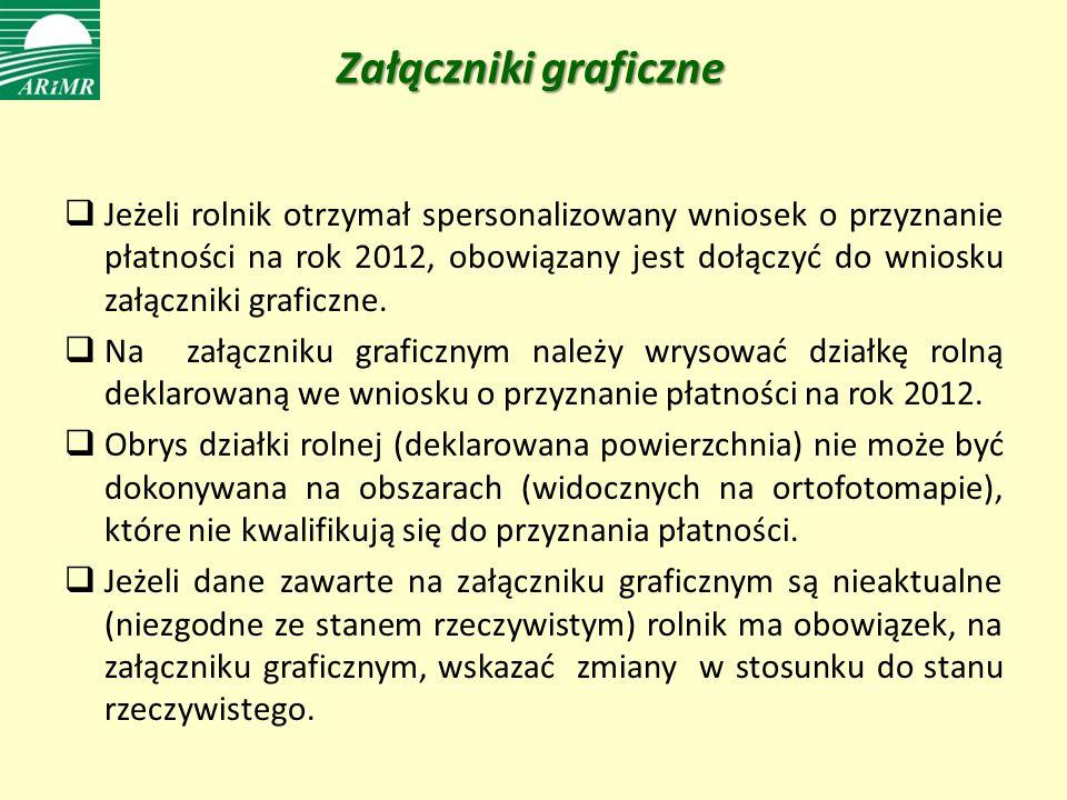 Załączniki graficzne Jeżeli rolnik otrzymał spersonalizowany wniosek o przyznanie płatności na rok 2012, obowiązany jest dołączyć do wniosku załączniki graficzne.