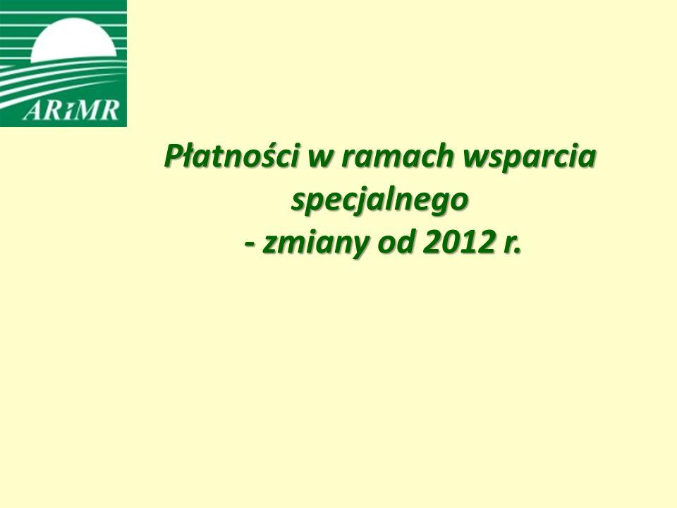 Płatności w ramach wsparcia specjalnego - zmiany od 2012 r.