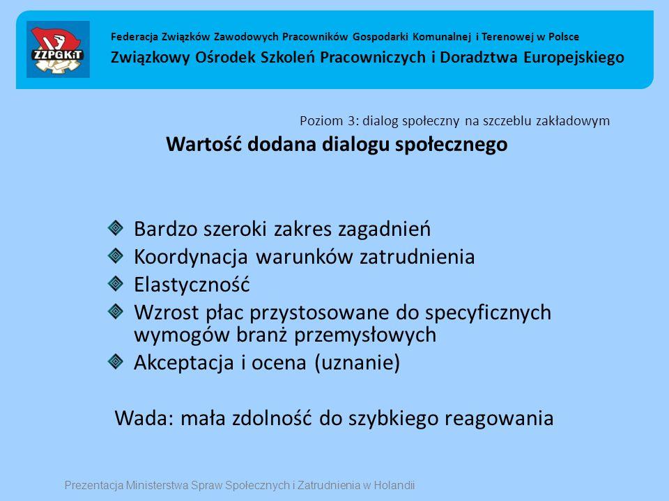 Poziom 3: dialog społeczny na szczeblu zakładowym Wartość dodana dialogu społecznego Bardzo szeroki zakres zagadnień Koordynacja warunków zatrudnienia Elastyczność Wzrost płac przystosowane do specyficznych wymogów branż przemysłowych Akceptacja i ocena (uznanie) Wada: mała zdolność do szybkiego reagowania Federacja Związków Zawodowych Pracowników Gospodarki Komunalnej i Terenowej w Polsce Związkowy Ośrodek Szkoleń Pracowniczych i Doradztwa Europejskiego Prezentacja Ministerstwa Spraw Społecznych i Zatrudnienia w Holandii