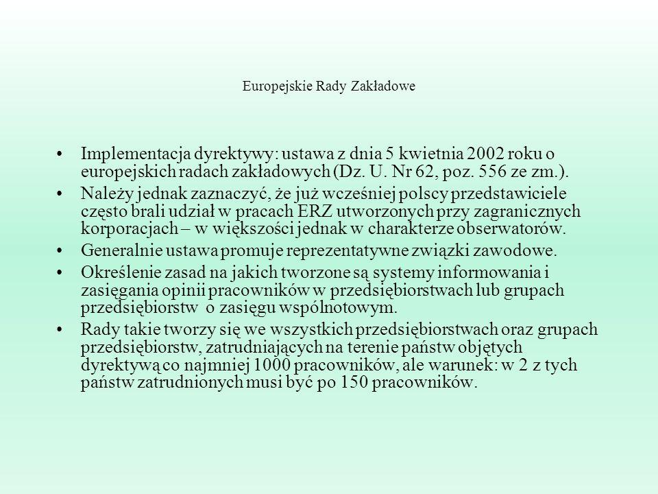 Europejskie Rady Zakładowe Implementacja dyrektywy: ustawa z dnia 5 kwietnia 2002 roku o europejskich radach zakładowych (Dz. U. Nr 62, poz. 556 ze zm
