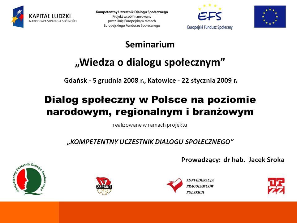 Seminarium Wiedza o dialogu społecznym Gdańsk - 5 grudnia 2008 r., Katowice - 22 stycznia 2009 r. Dialog społeczny w Polsce na poziomie narodowym, reg