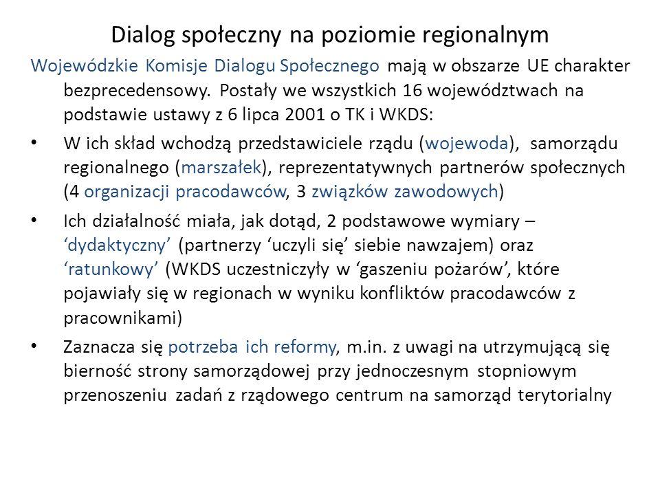 Dialog społeczny na poziomie regionalnym Wojewódzkie Komisje Dialogu Społecznego mają w obszarze UE charakter bezprecedensowy. Postały we wszystkich 1
