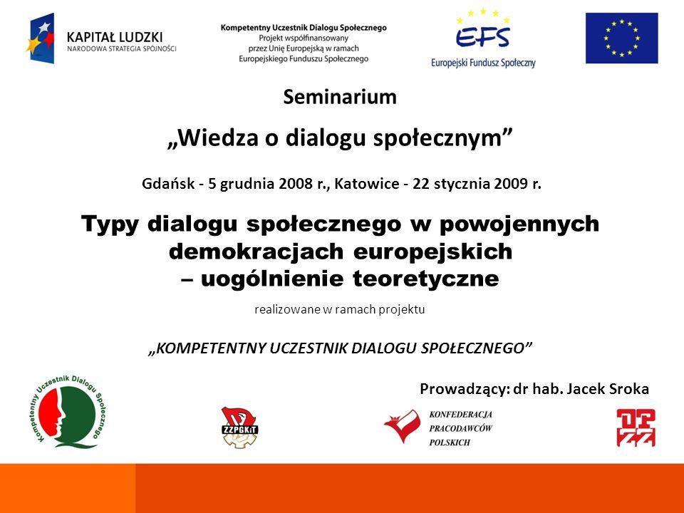 Seminarium Wiedza o dialogu społecznym Gdańsk - 5 grudnia 2008 r., Katowice - 22 stycznia 2009 r. Typy dialogu społecznego w powojennych demokracjach