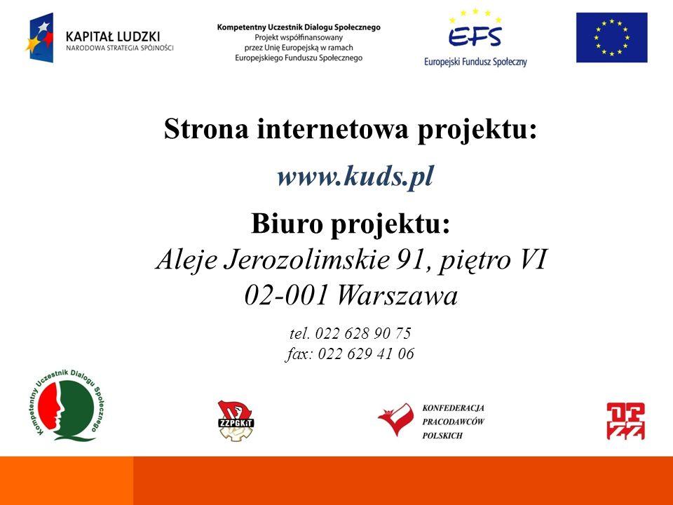 Strona internetowa projektu: www.kuds.pl Biuro projektu: Aleje Jerozolimskie 91, piętro VI 02-001 Warszawa tel. 022 628 90 75 fax: 022 629 41 06