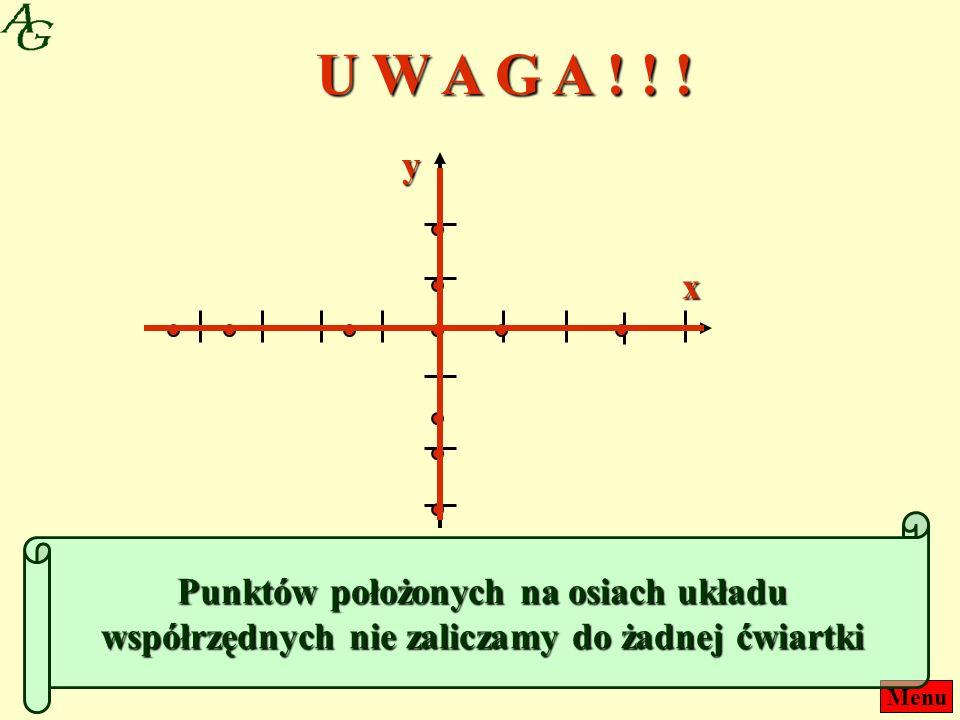 Menux y Punktów położonych na osiach układu współrzędnych nie zaliczamy do żadnej ćwiartki U W A G A ! ! !