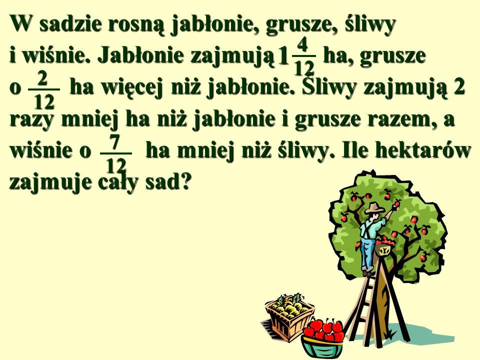 W sadzie rosną jabłonie, grusze, śliwy i wiśnie.