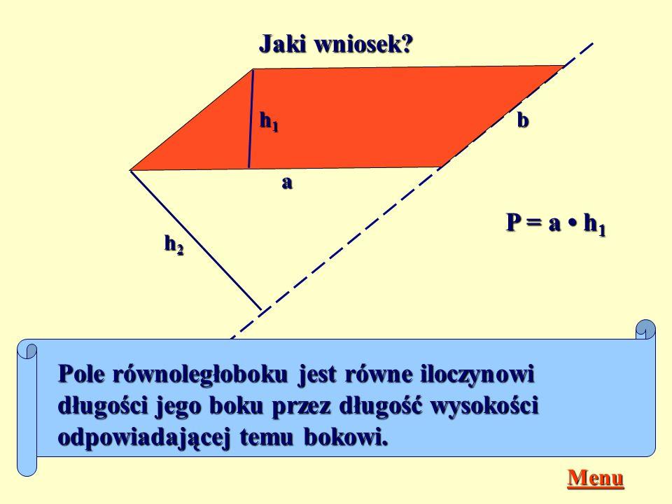 Jak obliczysz pola równoległoboków przedstawionych na rysunkach? d k P =d k c c b a P =b c s g m P =g m b c d a P =b c P =d a