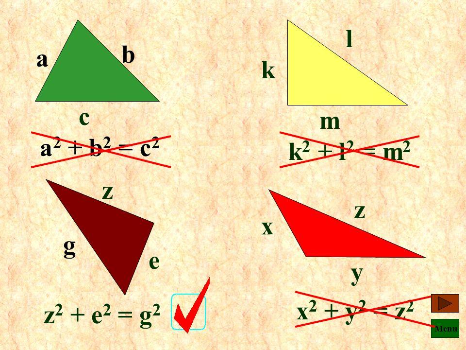 Menu Czy podany wzór jest poprawny ? d h s s 2 + d 2 = h 2 k w c k 2 = c 2 + w 2