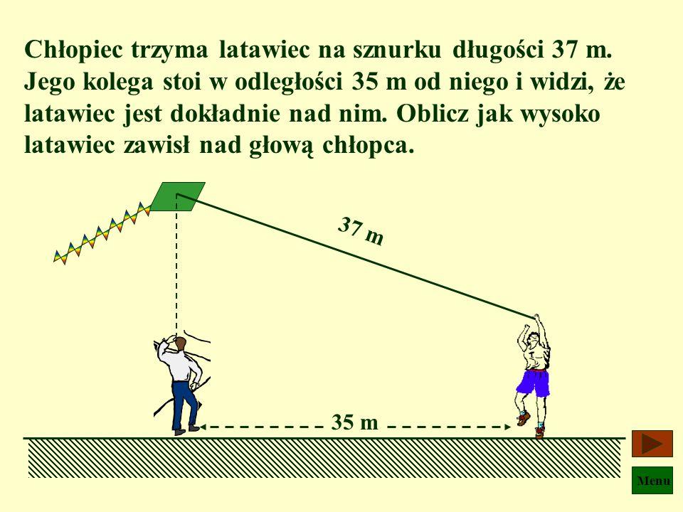 Menu Stosując twierdzenie Pitagorasa mamy: s2 s2 = g2 g2 + m2m2 czyli s = ? A dom Tomka Głównag = 120 m m = 90 m Mała Ścieżka ma długość 150 m, a więc