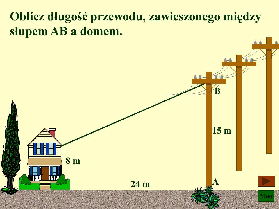 Menu r 2 = l 2 – g 2 czyli g = 8 m l = 17 m r = ? r = Promień wynosi 15 m, a więc boja może zakreślić na powierzchni wody okrąg o średnicy 30 m.