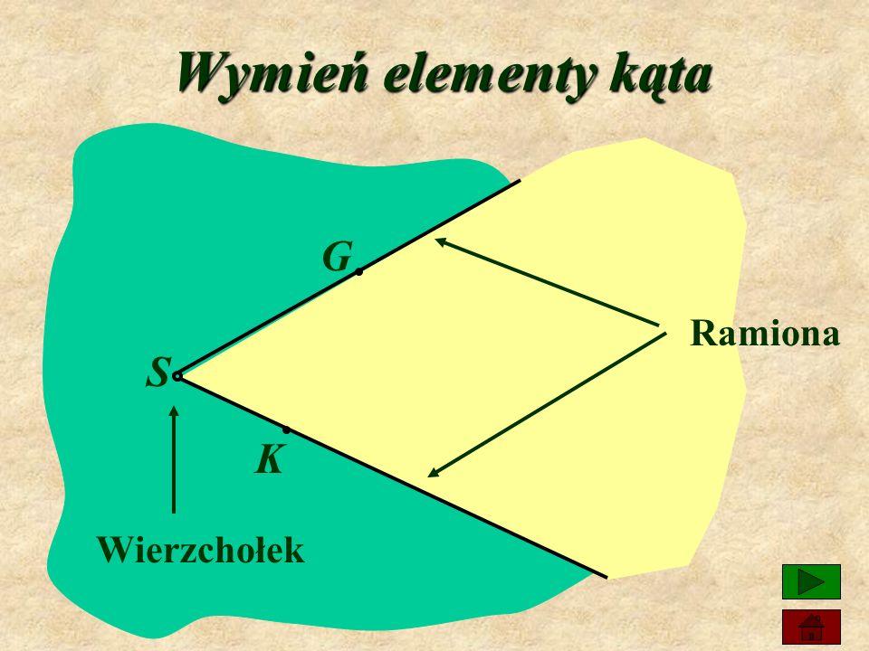 Co nazywamy kątem? Dwie półproste o wspólnym początku dzielą płaszczyznę na dwie części. Każdą z tych części (wraz z półprostymi) nazywamy kątem.