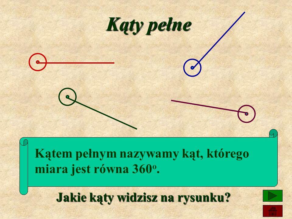 Kąty półpełne Kątem półpełnym nazywamy kąt, którego miara jest równa 180 o. Jakie kąty widzisz na rysunku?
