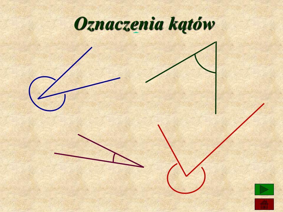 Elementy kąta ramiona wierzchołek Półproste nazywamy ramionami kąta, a ich wspólny początek wierzchołkiem kąta.