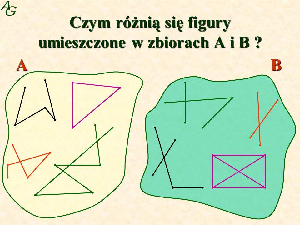 Czym różnią się figury umieszczone w zbiorach A i B ? AB
