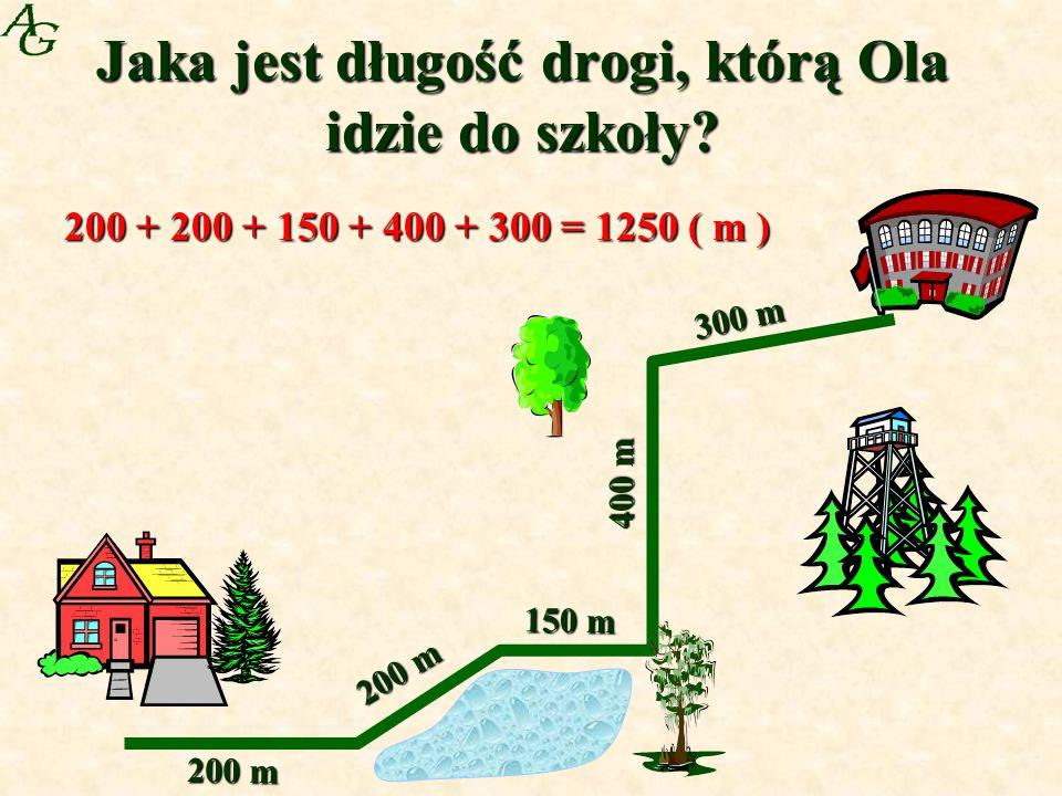 Jaka jest długość drogi, którą Ola idzie do szkoły.
